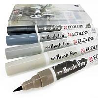 Кисть-ручка Royal Talens Brushpen GREY Ecoline набор 5 цв (8712079408282)