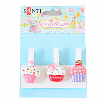 Набор прищепок декоративных Santi с пласт. декором ''Delicious cupcakes'', 4,5 см, 3 шт./уп.