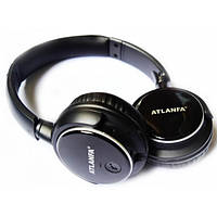 Беспроводные стерео наушники Atlanfa с гарнитурой  MP3 и FM Bluetooth Черные (AT-7612), (Оригинал)