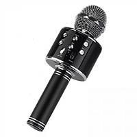 Детский беспроводной аккумуляторный караоке микрофон Wster с колонкой Bluetooth 23 см Чёрный (WS-858), (Оригинал)