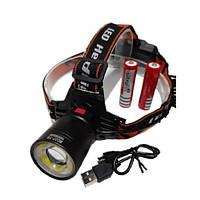 Фонарь налобный светодиодный LED фонарик аккумуляторный (18650) Police BL-8027 Original диод T-6 + COB с Зумом, (Оригинал)