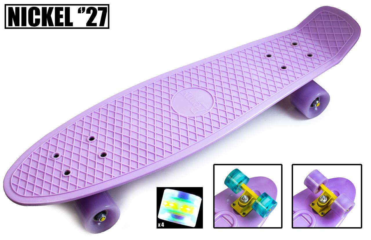"""Скейт - Пенниборд  Nickel 27"""" Лиловый цвет. Светящиеся колеса"""