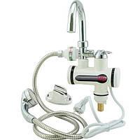 Проточный водонагреватель кран Delimanoс душем мини бойлер с дисплеем смеситель от розетки 3000 Вт, (Оригинал)