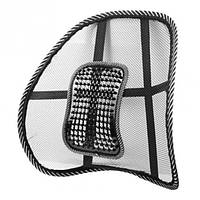 Упор поясничный для спины на стул UFT массажная корректирующая подставка-подушка Чёрная (MP04), (Оригинал)