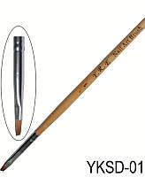Кисть для геля скошенная № 1 с деревянной ручкой, YRE