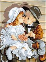 Картина по номерам Первый поцелуй, 30x40 см., Babylon VK148 Діти, ангели
