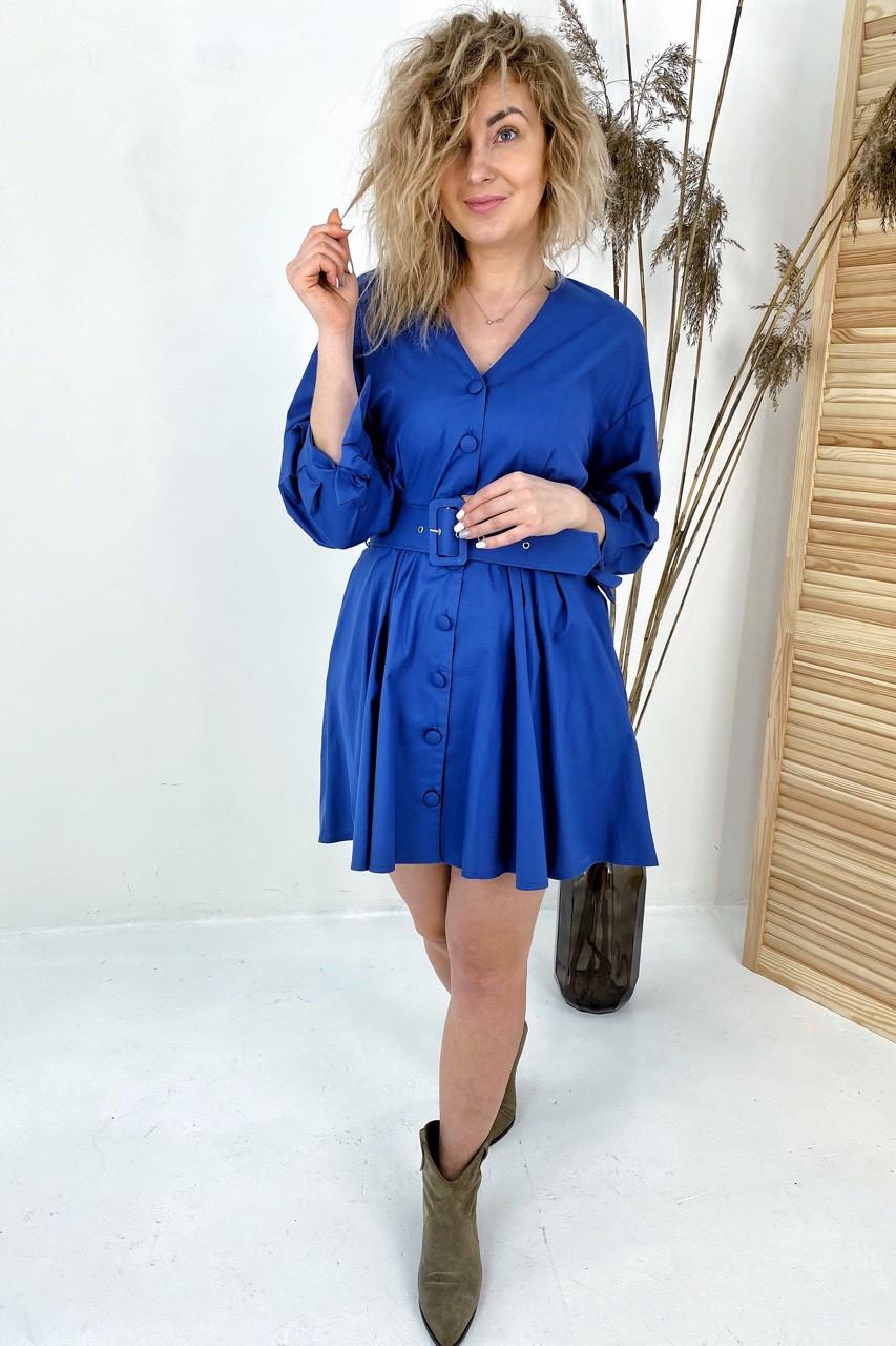 Модное платье на пуговицах с трендовым поясом  PERRY - синий цвет, L (есть размеры)