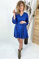 Модное платье на пуговицах с трендовым поясом  PERRY - синий цвет, L (есть размеры), фото 1