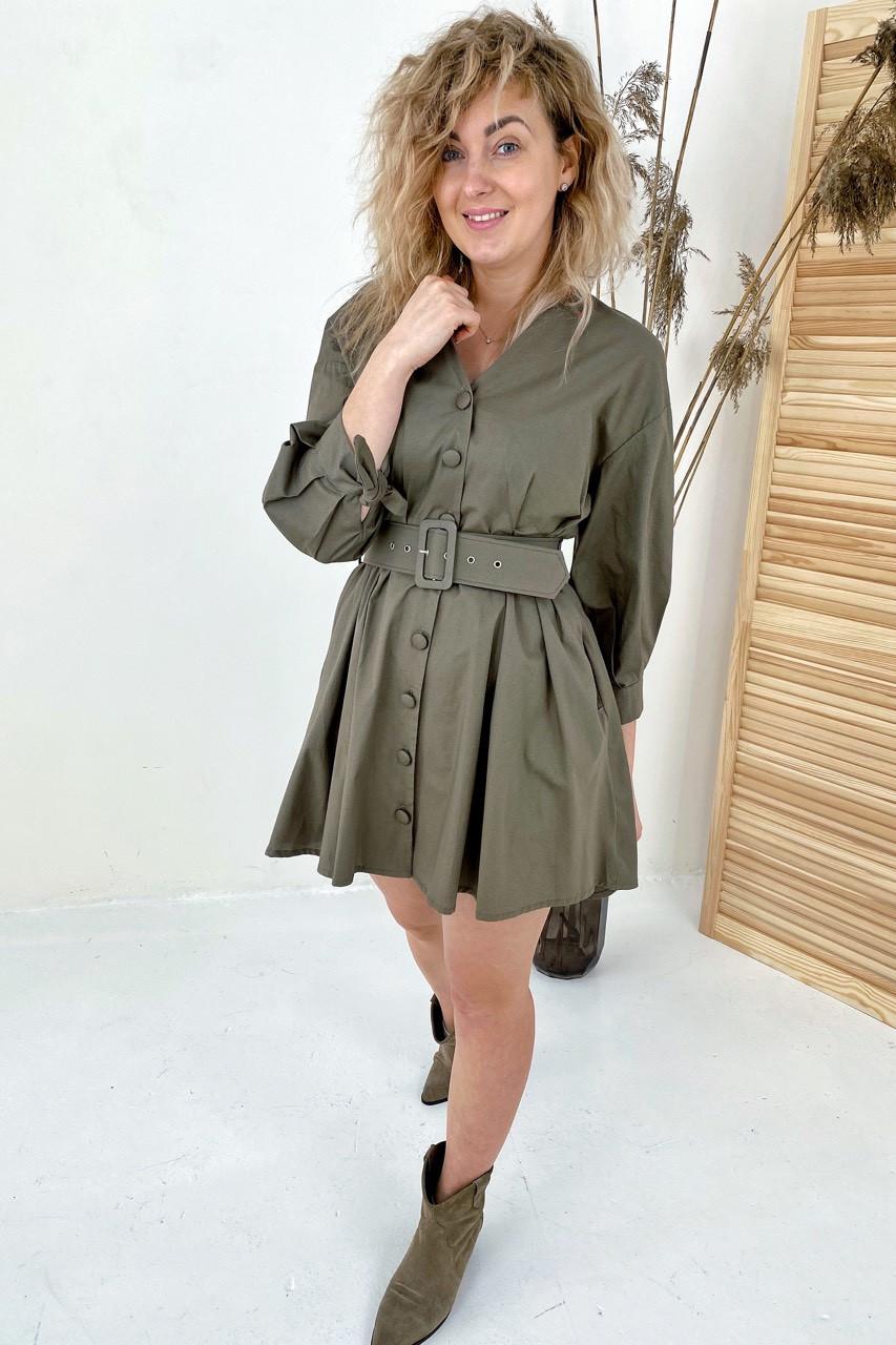Модное платье на пуговицах с трендовым поясом  PERRY - хаки цвет, S (есть размеры)