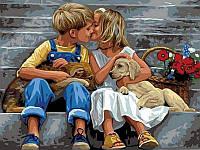 Картина по номерам Нежное свидание, 30x40 см., Babylon VK149 Діти, ангели