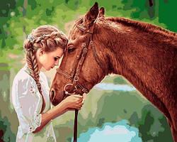 Картина по номерам Девушка и лошадь, 40x50 см., Babylon VP1249 Животные, рыбы, птицы