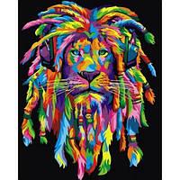 Картина по номерам Радужный лев с дредами вертикальная 40х50см Babylon VP989V Животные рыбы птицы