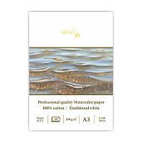 Склейка для акварели PRO CREATE А3, 300г/м2, 10л, белая бумага, SMILTAINIS