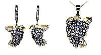 Набор с натуральными Танзанитами и фианитами - Серьги, Кулон, Цепочка / Рубиновая Мечта, фото 1