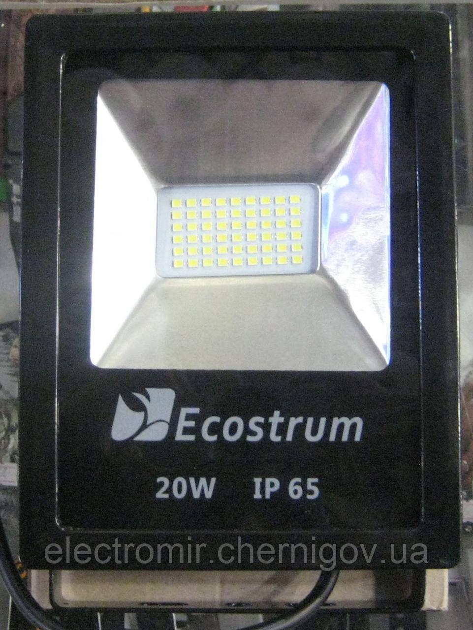 Прожектор светодиодный Ecostrum 20W 6500K (чёрный)
