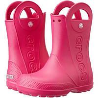 Crocs Детские резиновые сапоги розовые Kids' Handle It Rain Boot Candy Pink