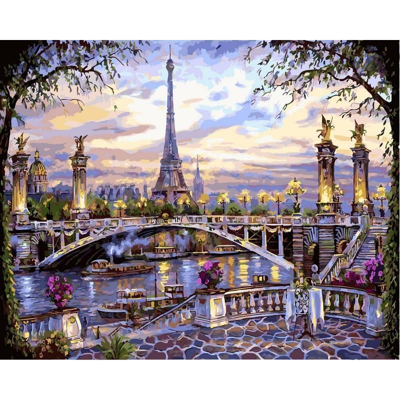 Картина по номерам Воспоминания о Париже. Худ. Роберт Файнэл, 40х50 см., Babylon VP397 Городской пейзаж, дома