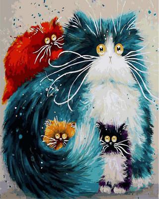 Картина по номерам Мама кошка. Худ. Ким Хаскинс, 40х50 см., Babylon VP874 Животные, рыбы, птицы