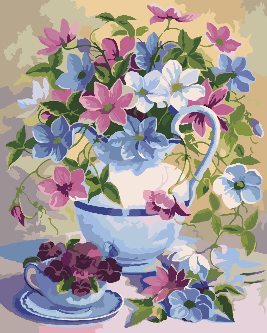 Картина по номерам Идейка КНО2049 Цветочная поэзия 40х50см ідейка картины Цветы, фрукты, натюрморты, еда