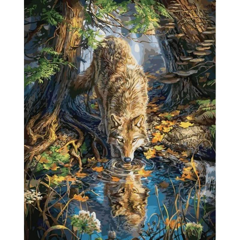 Картина по номерам Волк в дикой природе, 40х50 см., Babylon VP930 Животные, рыбы, птицы