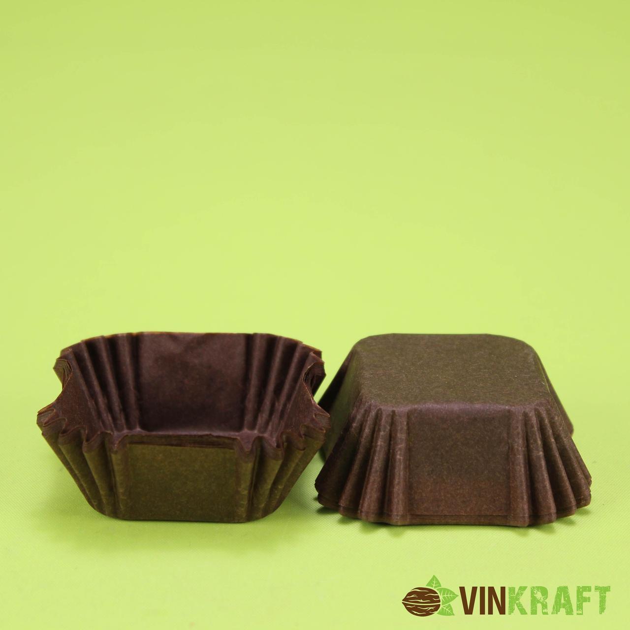 Паперова формочка К-40 (40*40, h=22) для цукерок, коричнева