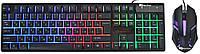 USB проводная компьютерная клавиатура + мышка UKC HK-6300TZ с RGB подсветкой (6944)