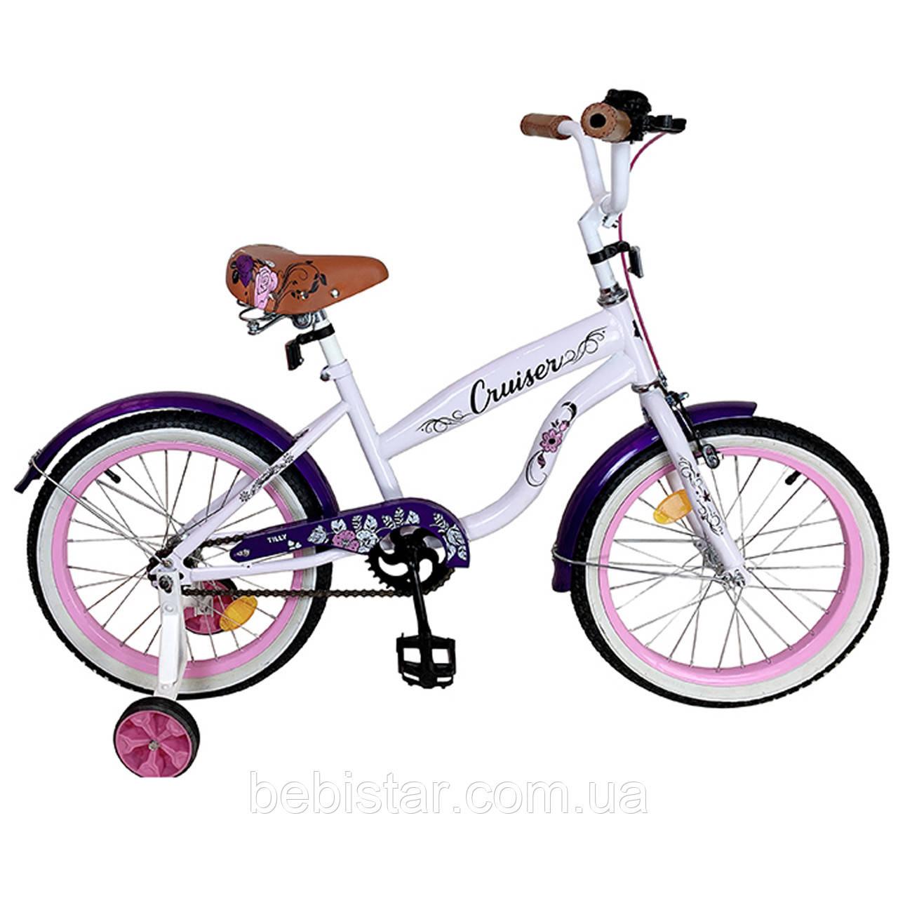 Детский двухколесный велосипед белый с фиолетовыми крыльями CRUISER 18 T-21835 purple для деток 5-7 лет