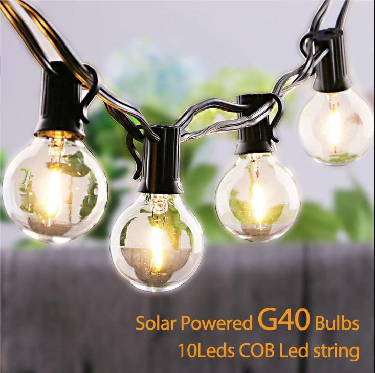 Светодиодный винтажный светильник-гирлянда  G40 на солнечной батарее 10 ламп