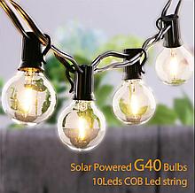 Світлодіодний вінтажний світильник-гірлянда G40 на сонячній батареї 10 ламп
