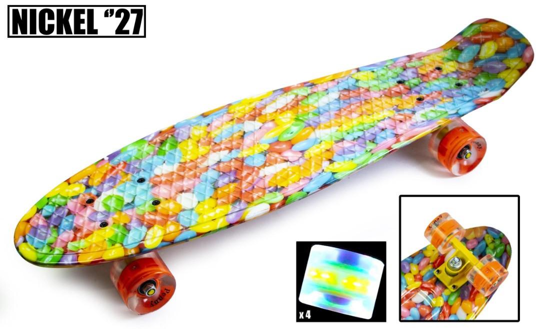 "Пенни борд скейт со светящимися колесами Nickel 27"" caramel"