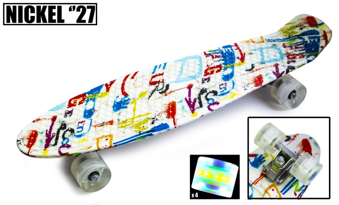 "Пенни борд скейт со светящимися колесами Nickel 27"" multicolor"