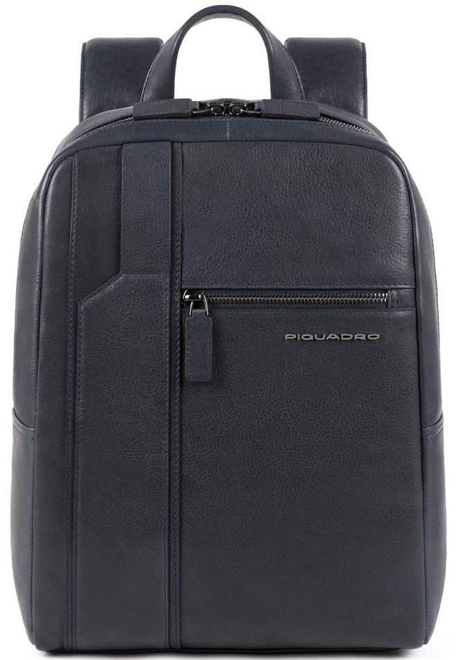 Городской рюкзак из натуральной кожи Piquadro Kobe синий на 10л