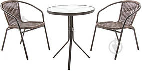 Садовая мебель коричневый  (круглый столик и два кресла плетеных )