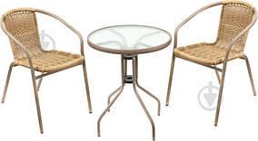 Садовая мебель антрацит, меланж (круглый столик и два кресла плетеных )