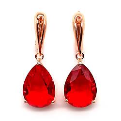 Серьги SONATA из медицинского золота, красные фианиты, позолота PO, 23136        (1)