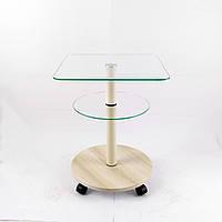 Стеклянный журнальный столик на колесиках квадратный Commus Bravo Light 400 Kv6 clear-pepel-bg50