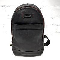Рюкзак, черный, кожа Арт.VS024 (Рюкзак на 1 плечо, натуральная кожа, чёрный)