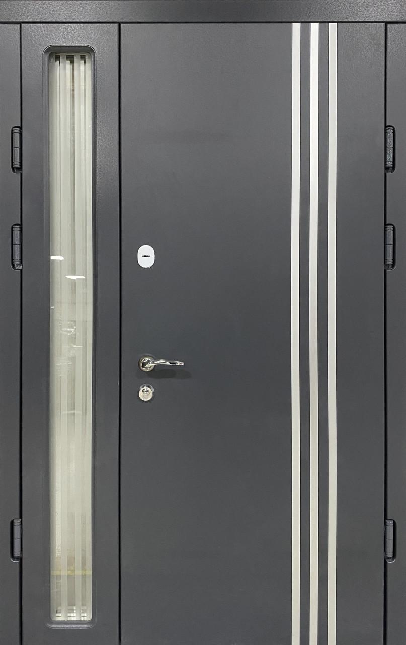 Двери уличные, PRESTIGE 1170*2050, модель 20-45, 2 замка, полуторные, стеклопакет