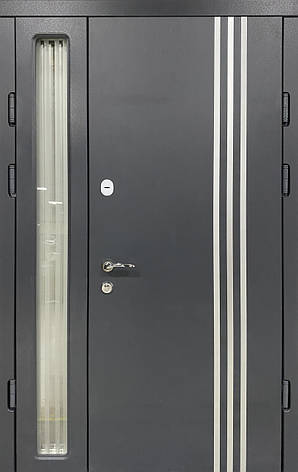Двери уличные, PRESTIGE 1170*2050, модель 20-45, 2 замка, полуторные, стеклопакет, фото 2