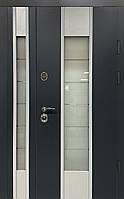 Двери уличные, модель Thermo Steel 20-03, 2 замка, полуторные, стеклопакет, ковка