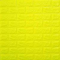 Самоклеюча декоративна 3D панелі для стін під цеглу жовтий