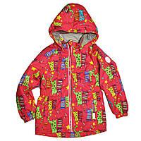 Демисезонная термокуртка для девочки 92-104 рост малиновая с принтом