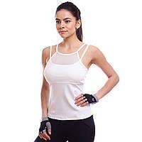 Майка для фитнеса и йоги Zelart, полиэстер, лайкра, S-2XL-42-52, белый (1088-(wt))