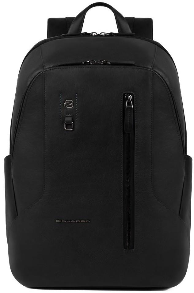 Рюкзак из натуральной  кожи Piquadro Hakone черный на 23л