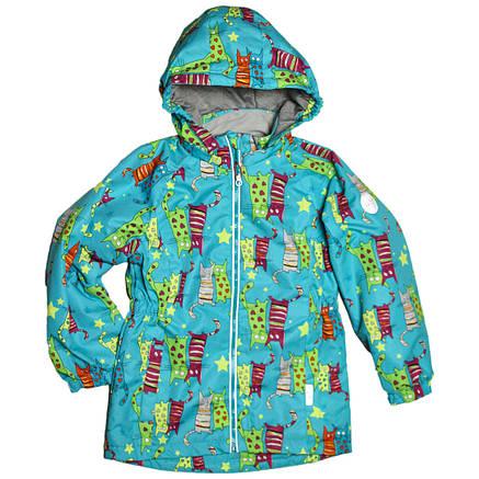 Куртка для девочки весна-осень 92 рост мембранная ткань голубая, фото 2