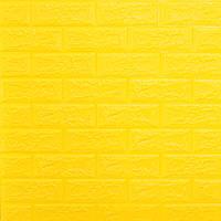 Декоративная 3D панель самоклейка для стен под кирпич желтый