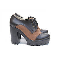Женские коричневые туфли на каблуке и тракторной подошве 39, 40