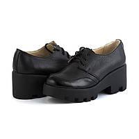 Кожаные черные туфли на платформе