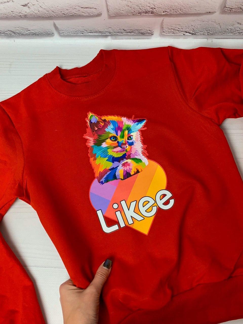 Свитшот детский,подросток Likee c красивым котиком,в расцветках, Все Размеры.