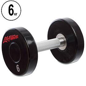 Гантель цельная профессиональная Life Fitness (1шт) 6кг (SC-80081-6)